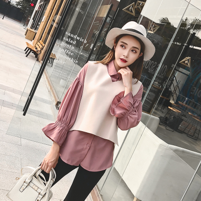 实拍2192#2018新款女套装韩版宽松开叉毛呢马甲长袖雪纺衫两件套