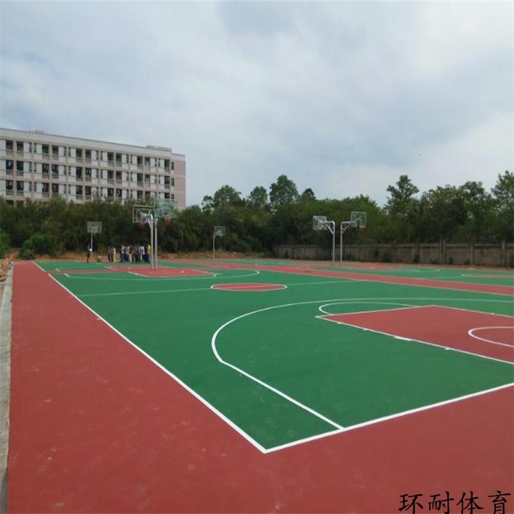 内蒙古塑胶水性硅PU蓝球场材料室内外运动网球场羽毛球场地坪漆
