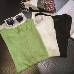 7027针织衫女套头2017春夏新款韩版时尚纯色大码圆领七分袖t恤
