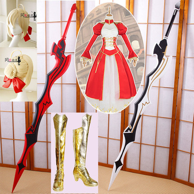 taobao agent Fate zero saber cos props red nero tyrant sword flower wedding bridal wig clothing boots shoes