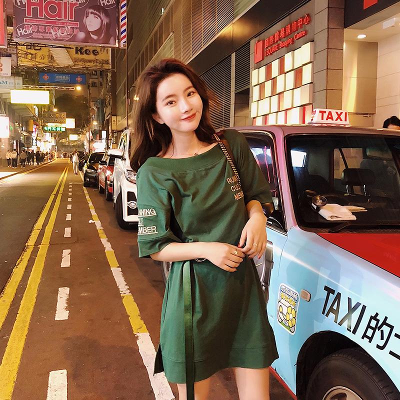 视频三标实拍2018夏新款女韩版宽松显瘦一字领学生短袖连衣裙3057