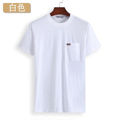 Người đàn ông trung niên của ngắn tay T-Shirt cotton trắng lỏng mùa hè vòng cổ bất pocket trung niên cha nửa tay áo sơ mi áo thun nam tay ngắn đen Áo phông ngắn
