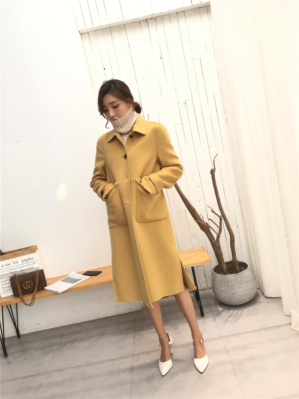 Đơn ngực cashmere áo khoác nữ hai mặt phần dài side khe túi thanh lớn 18 mùa thu và mùa đông mới của Hàn Quốc phiên bản của áo len