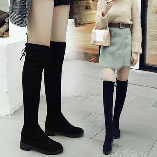 百搭过漆平底粗跟内增高长筒女长靴