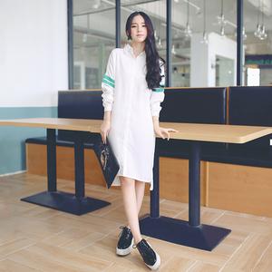 832#2017春季新款 韩版学院风撞色翻领长款衬衣宽松连衣裙