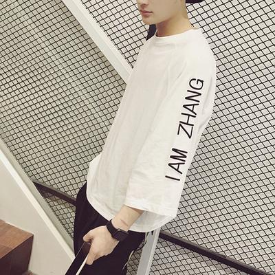 Mùa hè lỏng lẻo năm điểm tay áo T-Shirt nam dài tay 7 điểm Hàn Quốc phiên bản của bảy điểm tay áo trong tay áo xu hướng chất béo ngắn tay quần áo áo thun ba lỗ Áo phông dài