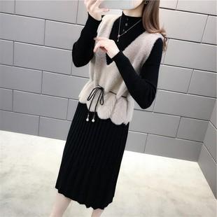 女韓版收腰針織馬甲兩件套連衣裙