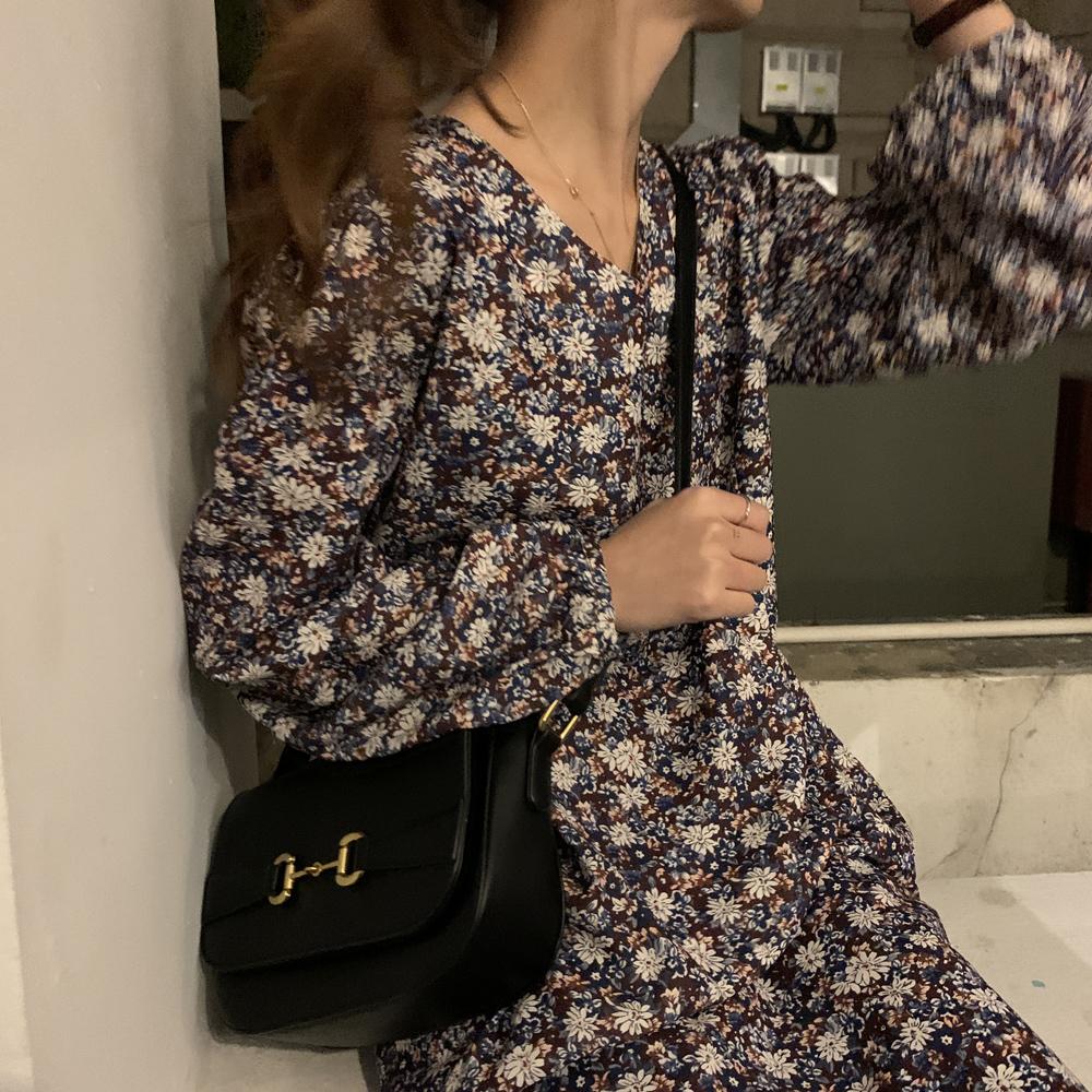 lovedall気質優雅満点!レトロ新作長袖シフォン花柄優しい雰囲気ゆったりプリントワンピース
