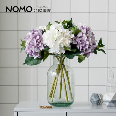 北欧国度  斯普仑透明淡彩玻璃花瓶+仿真花绢花