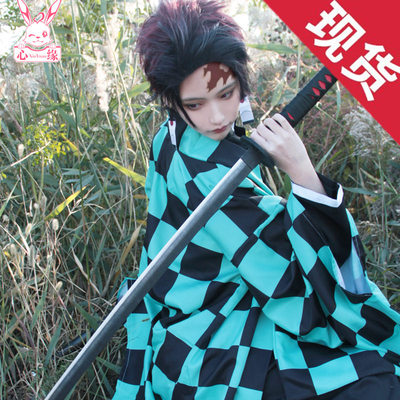 taobao agent Spot send earrings ghost slayer blade cos clothing stove door Tanjiro cospaly clothing wig clogs