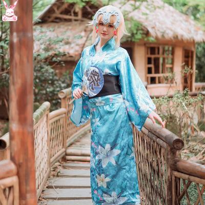 taobao agent Spot Fate FGO Black and White Joan of Arc Japanese Kimono Yukata Cosplay Clothes Wig Set Wig Clogs