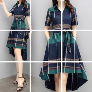 格子连衣裙2018春夏新款女装中长款时尚气质修身不规则短袖衬衫裙