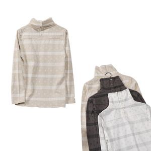 Ladies bông cao cổ áo ấm tops jersey mùa thu cổ áo với khóa hem mở dài tay áo len