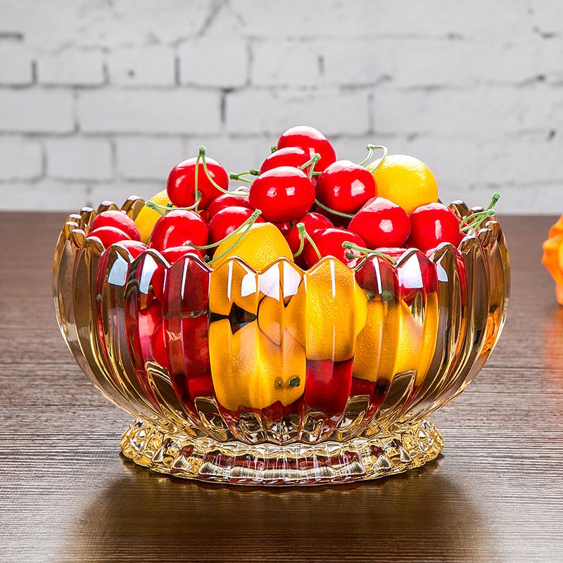 水果盘简约金色水晶玻璃果盆欧式盘子