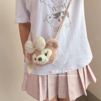 taobao agent Cartoon cute Shirley Rose coin purse card holder bow bear head shoulder small shoulder bag soft cute mini messenger bag