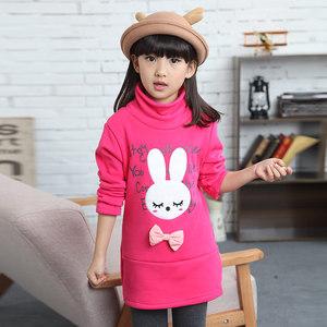 1199儿童韩版女童上衣女大童加绒中长款打底衫女款春秋装保暖卫衣