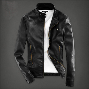 2019 new men's leather men's spring and autumn short jacket youth Korean version of the slim collar pu leather jacket