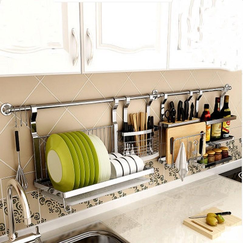 不锈钢厨房置物架壁挂收纳调料碗碟架刀具锅盖筷子架挂杆厨具用品