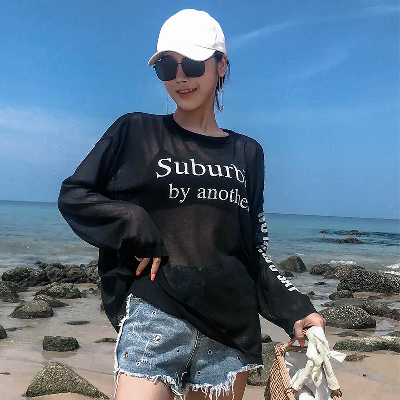 海边度假薄款比基尼罩衫温泉游泳衣外搭套头罩衫女沙滩防晒衣外套
