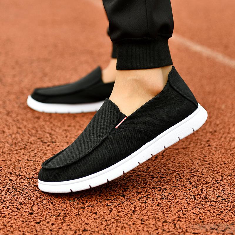 新款布鞋男士板鞋韩版潮流英伦休闲鞋百搭豆豆鞋懒人鞋透气帆布鞋