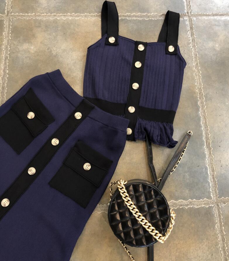 2018 mùa hè mới người Anh gió retro CHIC đan phù hợp với nữ hai mảnh yếm trong dài nửa váy