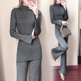 Falling wide-leg pants suit women's 2020 new autumn and winter clothes fashion temperament slim slim two-piece suit Western style