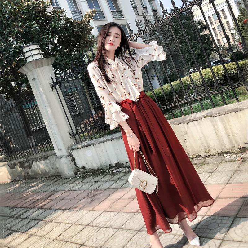 2018女装夏装bf甜美衬衫配裙子两件套