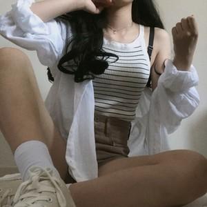 2622# 大量现货 原版料 韩国chic鬼马系 百搭 衬衫 防晒衫 女衬衣