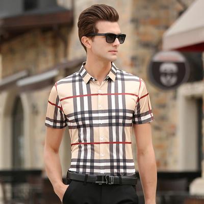 Ngắn tay Slim Hàn Quốc phiên bản của xu hướng đẹp trai băng lụa áo sơ mi nam lụa lụa miễn phí ủi kẻ sọc áo sơ mi mỏng áo tay dài nam Áo