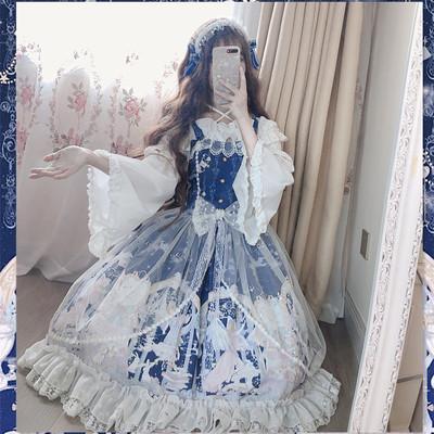 taobao agent Funny sauce original Lolita snow angel palace style jsk sling net yarn fairy cyan star lace dress