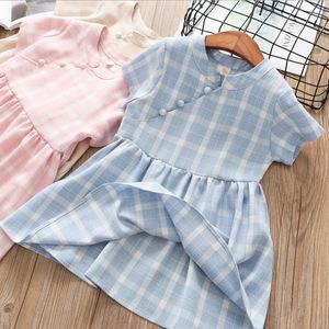 2018 mùa hè mới trẻ em ăn mặc váy Trung Quốc phong cách thoải mái sườn xám váy cô gái Cộng Hòa phong cách ăn mặc trẻ em 5028