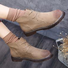 实拍秋冬季潮流擦色复古马丁靴平底女鞋圆头民族风内增高短靴女