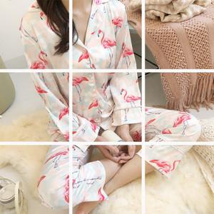 8215#火烈鸟冰丝开衫睡衣三件套简约韩版女休闲甜美家居服套装