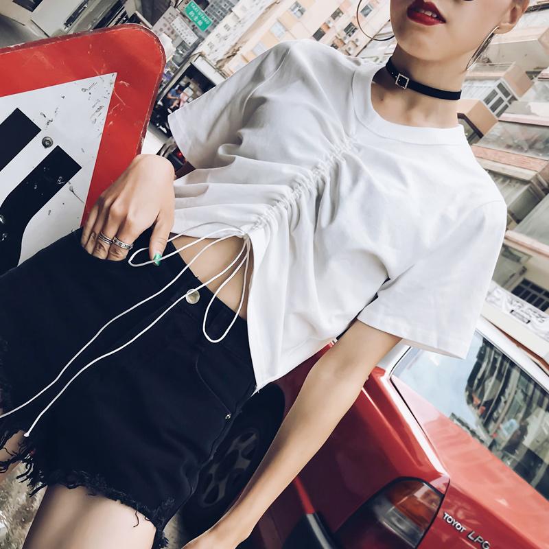2018新款抽绳短袖t恤女夏短款露脐白色高腰系带小心机上衣设计感