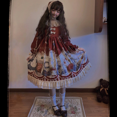taobao agent Original design Lolita rabbit tailor op cute retro spring and autumn long-sleeved daily Lolita dress