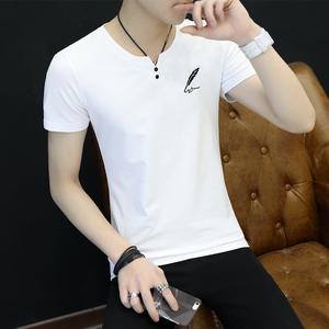 夏季短袖t恤男v领修身体恤韩版学生半袖上衣男装打底衫 阿杰