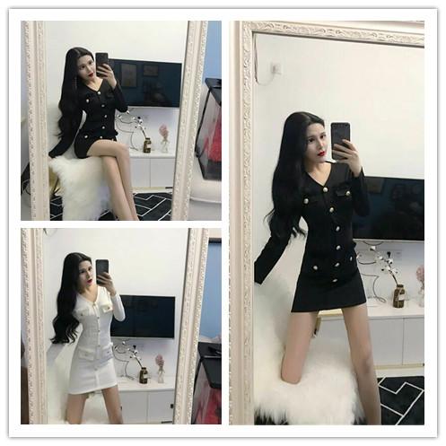 【模特实拍】新款时尚性感V领修身包臀打底连衣裙   3209#