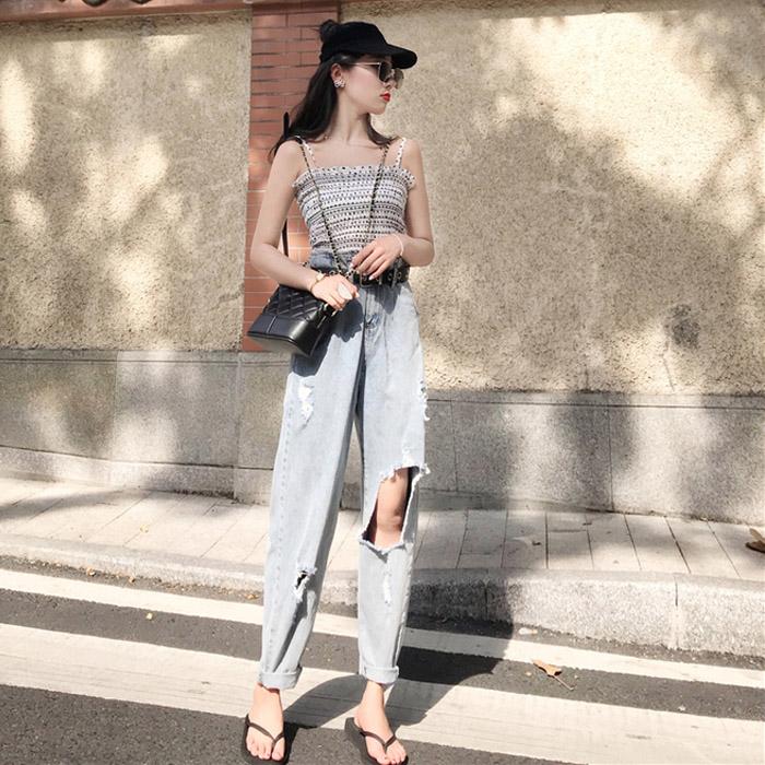 Mùa thu của phụ nữ phù hợp với 2018 làn sóng mới điểm yếm trong thời trang hoang dã cao eo lỗ lỏng chín điểm jeans