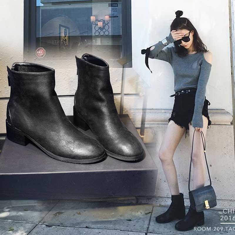 雪梨同款短靴女短筒后拉链平底单靴秋粗跟女靴平跟切尔西马丁靴女
