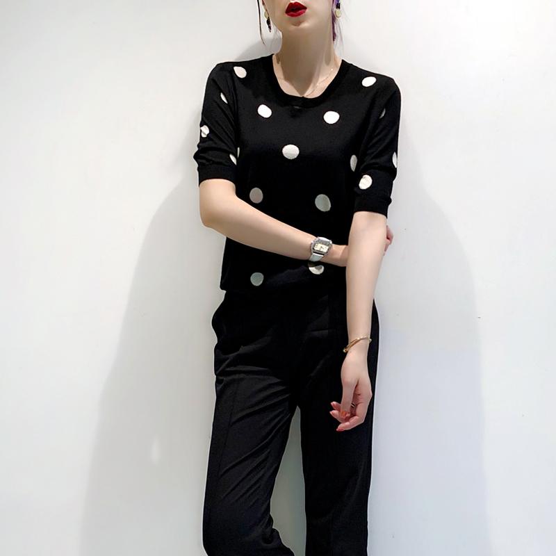 2018 mùa xuân và mùa hè màu đen và trắng dot áo sơ mi Hàn Quốc phiên bản của Hồng Kông hương vị retro Tencel áo len của phụ nữ thủy triều hit màu áo len lỏng phần mỏng