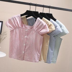 Mùa hè phụ nữ mới mỏng giảm béo ngắn tay áo thun áo sơ mi ngọt ngào nhỏ tươi duy nhất- ngực kẻ sọc áo sơ mi hàng đầu