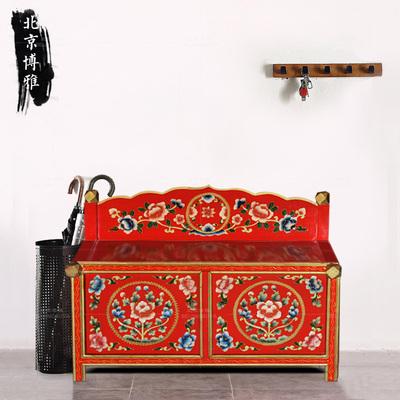 手工彩绘换鞋柜换鞋凳地柜门厅柜中式仿古藏式