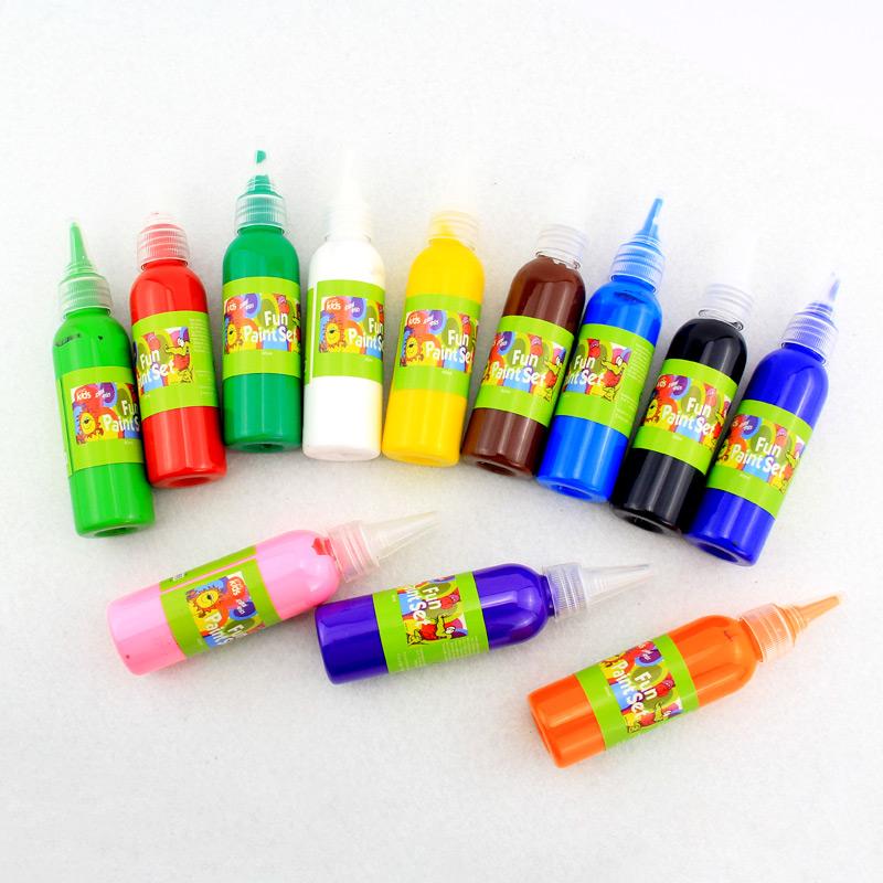 12 màu sắc có thể giặt màu nước sơn mẫu giáo nghệ thuật thủ công và bức tranh sơn cung cấp ngón tay sơn dầu 60ml