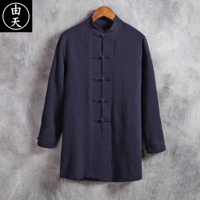 Gió của Trung Quốc bông áo gió nam phần dài cổ áo lỏng retro phong cách đàn ông của mùa xuân và mùa thu dài tay Trung Quốc áo khoác Áo gió