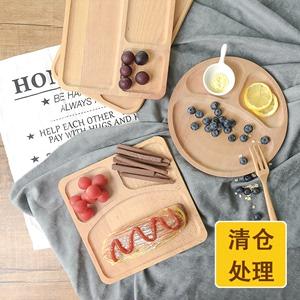 Giải phóng mặt bằng không sơn bạch đàn tấm lưới sáng tạo Nhật Bản ba lưới rắn gỗ bộ đồ ăn tấm khay ăn sáng