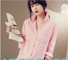 125#宽松大码白衬衫女长袖POLO领休闲棉麻衬衣显瘦上衣