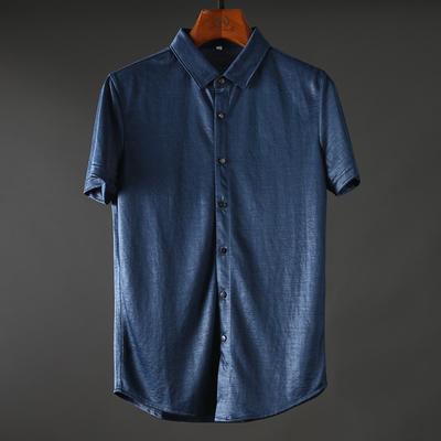 Mùa hè cao cấp ramie mượt da thân thiện thoáng khí kết cấu bóng của nam giới kinh doanh bình thường mỏng ngắn tay áo sơ mi áo sơ mi thời trang Áo