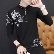 男士薄款长袖t恤韩版有领带领修身polo衫秋季打底衫衣服潮流