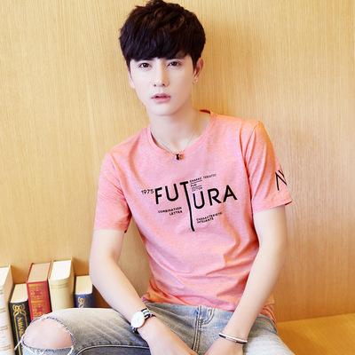 Mùa hè ngắn tay t-shirt nam Hàn Quốc phiên bản của vòng cổ Slim T-Shirt xu hướng junior học sinh trung học chàng trai tuổi teen quần áo