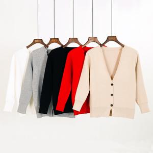 春秋新款毛衣小披肩韩版显瘦V领百搭短款针织衫女开衫秋季女外套